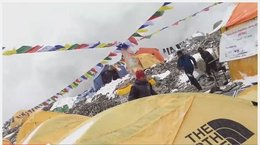 Mt. Everest base camp during Nepal earthquake (Adult language)