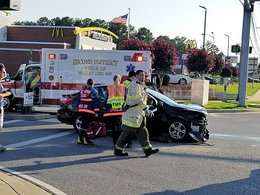 Crash at The Square on Great Mills Road.